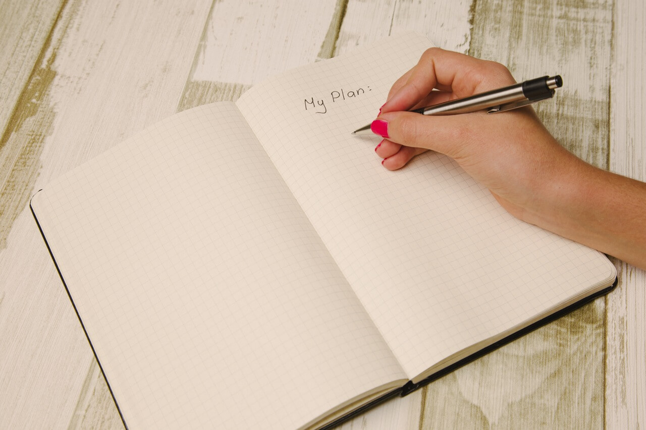 My Plan - writing in notebook