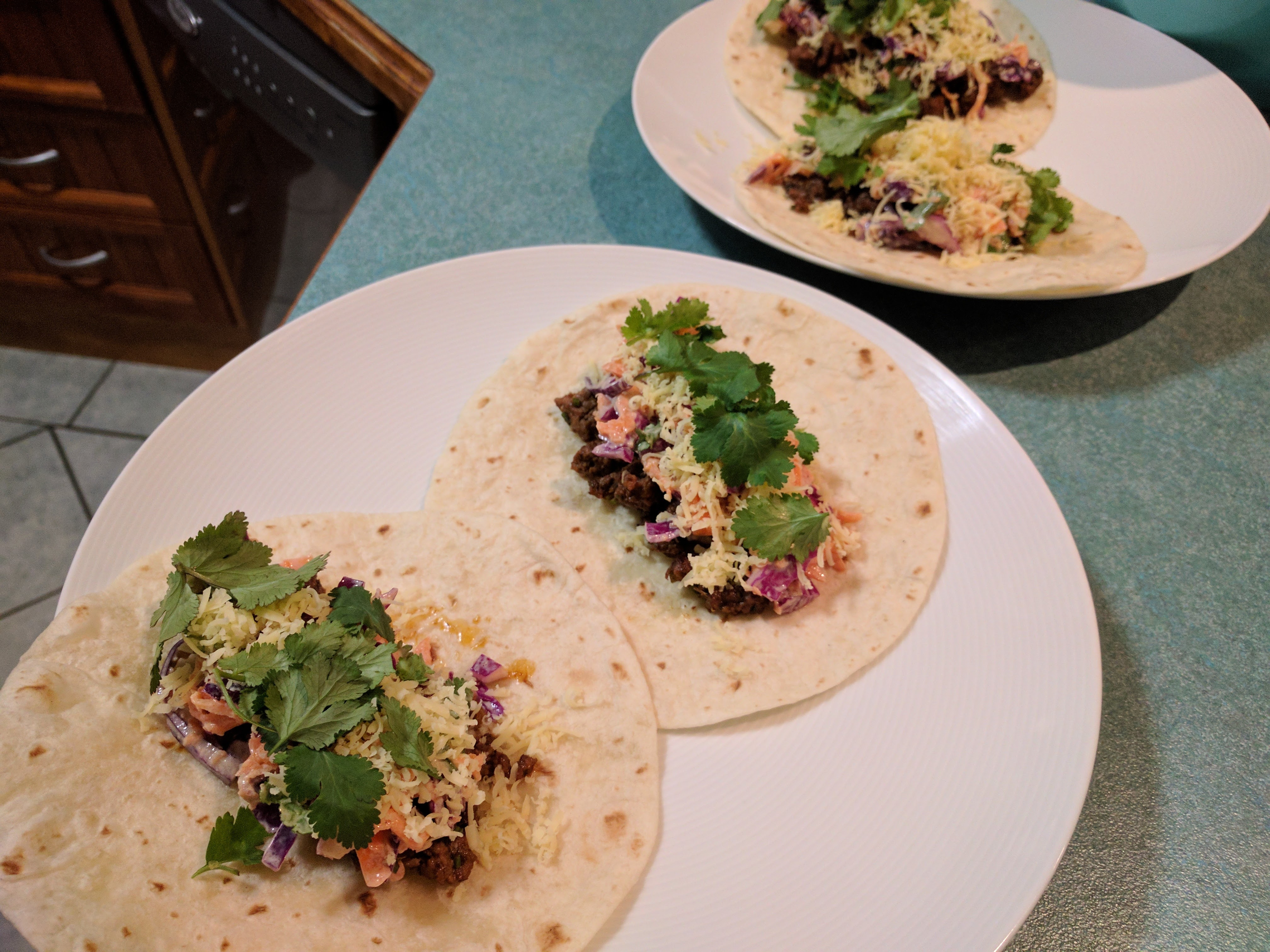 Beef and cheddar tacos