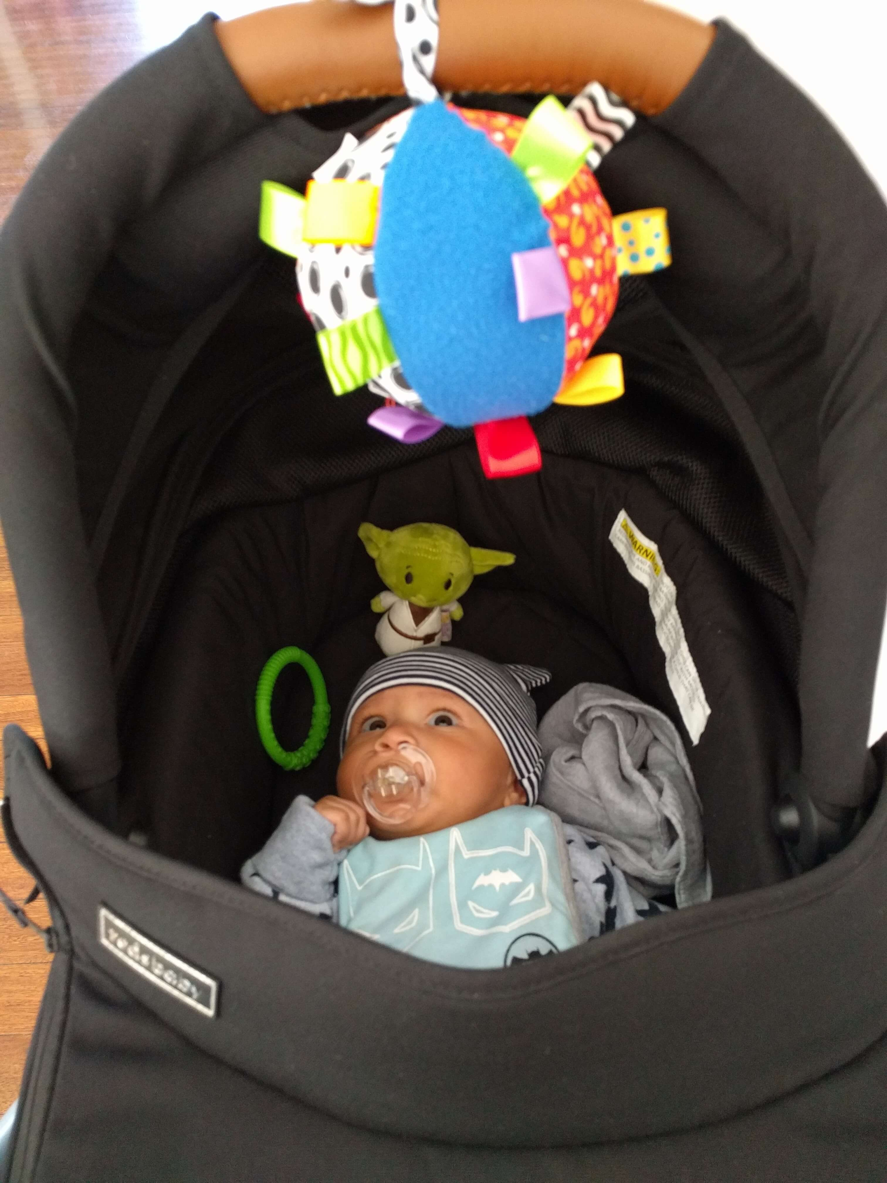 Redsbaby Jive review - hanging toys from the bassinet hood