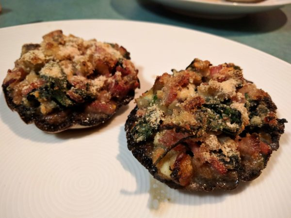 Easy stuffed mushrooms - served on plate