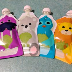 Squooshi reusable pouches with pea puree